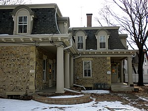 Elgin Historic District - The Gifford-Davidson House is unusual due to its cobblestone construction and Second Empire style details. This design would have been more typical in James Gifford's original home of New York.