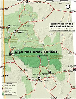 Map of designated wilderness areas in Gila Nat...