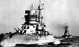 Conte di Cavour-class battleship - Giulio Cesare leading her sister after their reconstruction