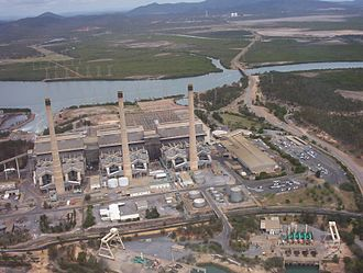 Callemondah - Gladstone Powerhouse with the Calliope River beyond, 2005