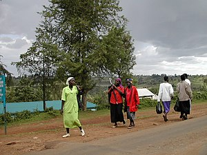 Several women going to (and from) market in Kenya.