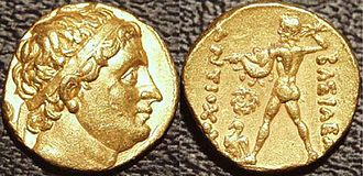 Diodotus I - Gold stater of Diodotus in the name of the Seleucid emperor Antiochus I Soter, c. 250 BCE. Diodotus effectively declared his independence from Seleucid control by placing his own portrait on the obverse of the coin, and replacing Antiochos's preferred deity Apollo with the Zeus shown on this coin.