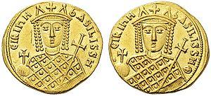 Gold solidus, Byzantine, Irene, 797-802.jpg
