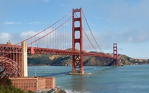The Golden Gate Bridge in San Francisco, California, as seen from Battery Eas