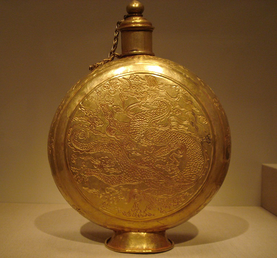 Golden canteen with dragon, Ming Dynasty