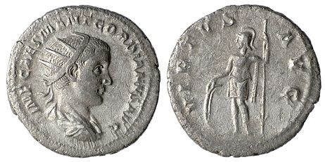 Silver Antoninianus of Gordian III, mint of Rome, 238-239 AD; Obverse: IMP CAES M ANT GORDIANVS AVG, radiate, draped and cuirassed bust right; Reverse: VIRTVS AVG, Virtus standing facing in military dress, head left, with shield and spear; Reference: RIC 6, RSC 381 Gordian III Antoninianus Virtus 1.jpg