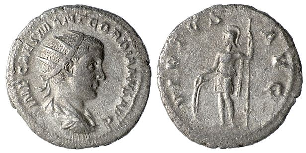 Silver Antoninianus of Gordian III. Ruler/Emperor: Gordian IIIl City/Region: Rome; Denomination: AR Antoninianus; Composition: Silver; Date: 238-239 AD; Obverse: IMP CAES M ANT GORDIANVS AVG, radiate, draped and cuirassed bust right ;Reverse: VIRTVS AVG, Virtus standing facing in military dress, head left, with shield and spear; Reference: RIC 6, RSC 381 Gordian III Antoninianus Virtus 1.jpg