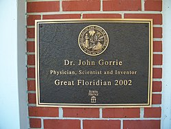 Photo of John Gorrie brass plaque