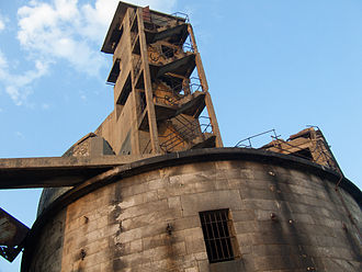 Grain Tower - Close-up view of the Second World War fire director tower built on top of Grain Tower