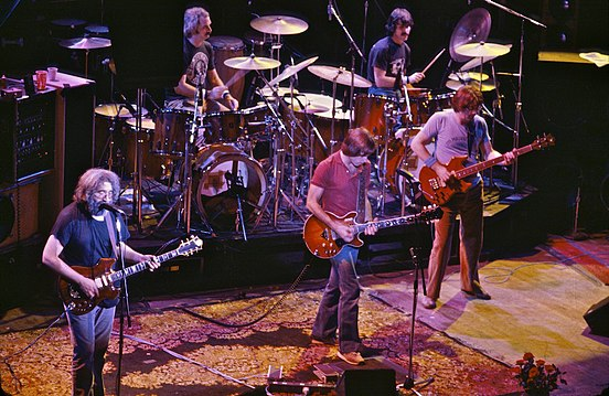 The Grateful Dead in 1980. Left to right: Jerry Garcia, Bill Kreutzmann, Bob Weir, Mickey Hart, Phil Lesh. Not pictured: Brent Mydland.