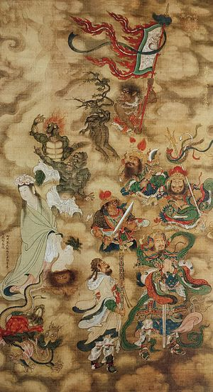 1450s in art - Great Generals of the Desert and the Spirits of Grasses and Trees Who Dwell in the Void of Water and Land, part of the Water and Land Ritual paintings