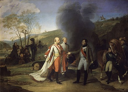 Napoleon and Francis II after the Battle of Austerlitz Gros - Entrevue - 1812.jpg