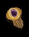 Guldbrosch med ametist, 1800-tal - Hallwylska museet - 109576.tif