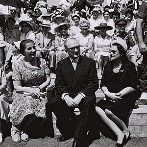 Guy Mollet - Guy Mollet, former PM of France, his wife, and Golda Meir, watching Israel's Independence Day Parade in Tel Aviv, 13 May 1959
