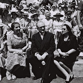 Guy Mollet - Guy Mollet, with his wife and Golda Meir, watch Israel's Independence Day Parade in Tel Aviv, 13 May 1959