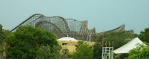 Gwazi - A view of Gwazi from the Skyride. Only the Lion side is operating in this photo.