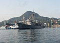 HMAS Melbourne arrives at Fleet Activities Sasebo for a routine port visit in October 2017.jpg