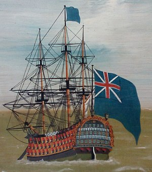 HMS Victory - HMS Victory flying the Blue Ensign (with the pre-1801 Union Jack), from  The Fleet Offshore, 1780–90, an anonymous piece of folk art now at Compton Verney Art Gallery.