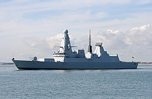 HMS Daring outward bound from Portsmouth Naval...