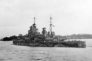 The Royal Navy battleship HMS Prince of Wales ...