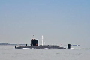 Military of the Falkland Islands - HMS ''Torbay'', a ''Trafalgar'' -class nuclear submarine.