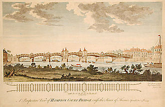 Hampton Court Bridge - Engraving by Charles Grignion the Elder (after A. Heckel) of the 1753 bridge