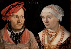 Hans Brosamer - Portrait of a couple, oil on panel painting, 1516