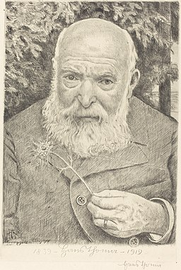 Hans Thoma - Selbstporträt VI mit Blume (1919)