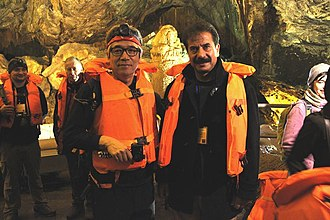 Hayatullah Khan Durrani - Hayatullah Khan Durrani and Prof:Kyung Sik Woo President Union of International Speleology (UIS) in Alisaddar Cave Hamadan Iran