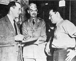 Isaac Asimov - Robert A. Heinlein and L. Sprague de Camp with Asimov (right), Philadelphia Navy Yard, 1944