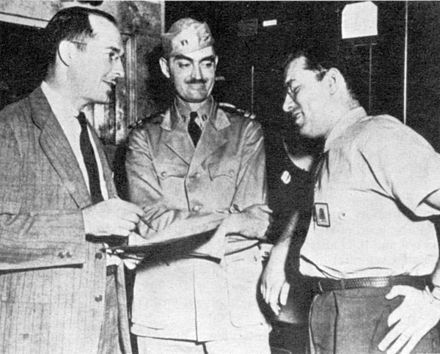 Robert A. Heinlein, L. Sprague de Camp, and Isaac Asimov, Philadelphia Navy Yard, 1944. Heinlein-decamp-and-asimov.jpg