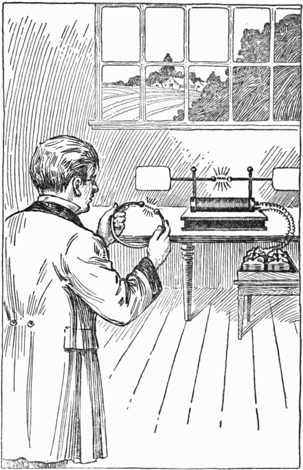 Hertz discovering radio waves with his first primitive radio transmitter (background). Heinrich Hertz discovering radio waves.png