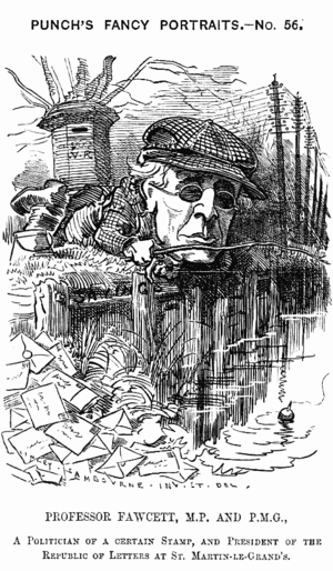 """Henry Fawcett - 1881 Cartoon from Punch: """"PROFESSOR FAWCETT, M.P and P.M.G., A Politician of a certain stamp, and President of the Republic of Letters at St. Martin-le-Grand's"""""""