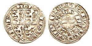 John III, Duke of Brabant - Half groat or demi gros of John III, struck Brussels 1326.