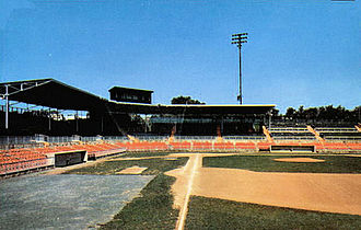Allentown Cardinals - Breadon Field, looking south to north along the first base line, about 1960. Built in 1948, the field was the home of the Allentown Cardinals until their demise in 1956. The press box is above the roof over the stands.