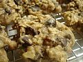 High Fiber Oatmeal Raisin Chocolate Chip Cookies on a wire rack, detail.jpg