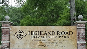 Highland Road Community Park - Image: Highland Road Community Park sign (Baton Rouge)