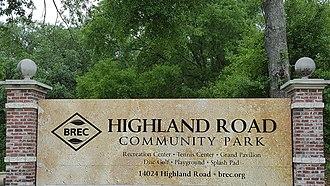Highland Road Community Park - Image: Highland Road Community Park sign (Baton Rouge)