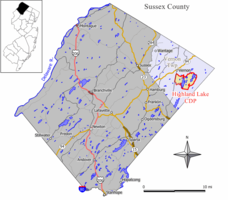 Map of Highland Lakes in Sussex County. Inset: Location of Sussex County highlighted in the state of New Jersey