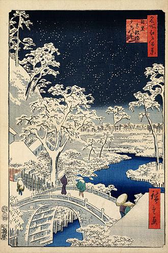 One Hundred Famous Views of Edo - Drum bridge at Meguro and Sunset Hill, 1854 Hiroshige