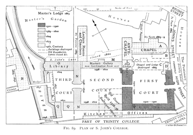 File Historical Plan Of St John S College Cambridge 1897