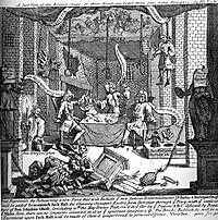 """An early print by William Hogarth entitled A Just View of the British Stage from 1724, depicting Robert Wilks, Colley Cibber, and Barton Booth rehearsing a pantomime play with puppets enacting a prison break down a privy, based on the escape of a felon from Newgate. The """"play"""" is comprised of nothing but special effects, and the scripts for Hamlet, inter al., are toilet paper."""