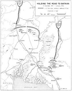 A map of the area around San Fernando, Pampanga, in January 1942