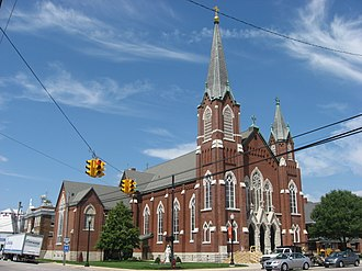 National Register of Historic Places listings in Mercer County, Ohio - Image: Holy Trinity Church in Coldwater, front and western side