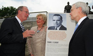 Bob Clement - Sen. Lamar Alexander (far left), former Tennessee State Senator Anna Belle Clement O'Brien and former U.S. Representative Bob Clement discuss Gov. Frank G. Clement's role in the desegration of Clinton High School during a ceremony at the Green McAdoo site in Clinton recently.