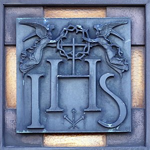 Names and titles of Jesus in the New Testament - The IHS monogram with angels, in Hostýn, Czech Republic.