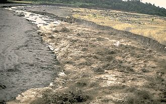 Lahar - A hot lahar rushes down a river valley in Guatemala near the Santa Maria volcano, 1989.