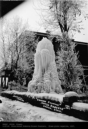 Hotel Roberts (Provo, Utah) - Frozen fountain in the central courtyard of Hotel Roberts