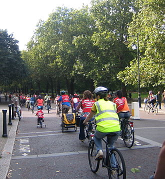 The London Freewheel - Cyclists of all ages together on the route, passing St. James's Park