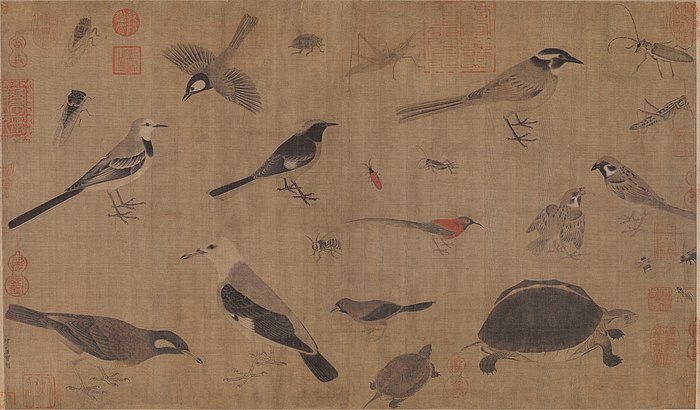 Description of rare animals (Xie Sheng Zhen Qin Tu ), by Song dynasty painter Huang Quan (903-965) Huang-Quan-Xie-sheng-zhen-qin-tu.jpg